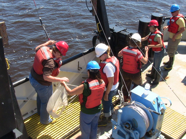 Lake Guardian teachers demonstrate the deployment of the zooplankton net to NERR teachers