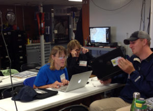 Shipboard Science teachers mustered in the Wet Lab for very serious research efforts.